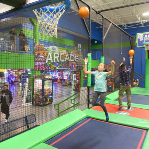 Trampoline Basketball Slam at Rebounderz